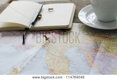 Travel. Traveling map on the table