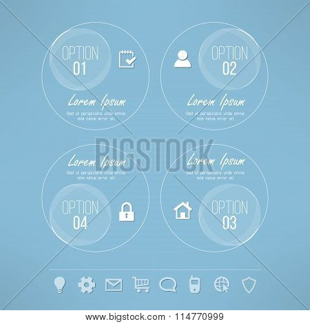 Vector glassy circles infographic design suitable for business presentations and reports. Four steps