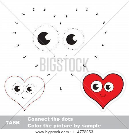 Heart to be traced. Vector numbers game.