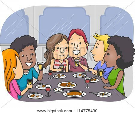 Illustration of a Group of Lovers Having a Meal Together