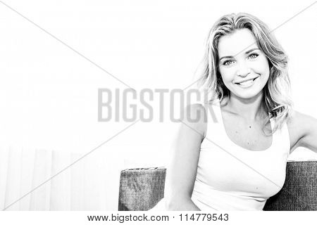 bw portrait of young smiling happy woman at home