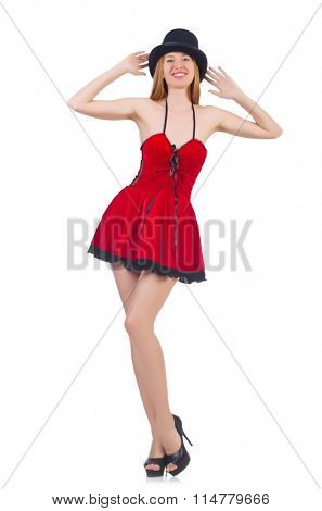 A girl in red dress isolated on white