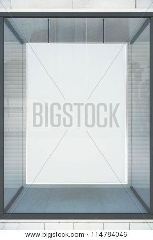 Blank White Showcase With Glassy Frame, Mock Up