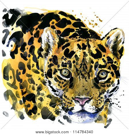watercolor leopard. leopard T-shirt graphics. leopard illustration.  unusual illustration  puppy leo