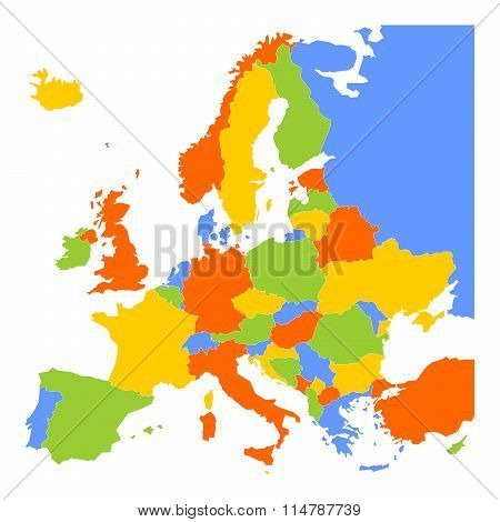 Colorful blank map of Europe