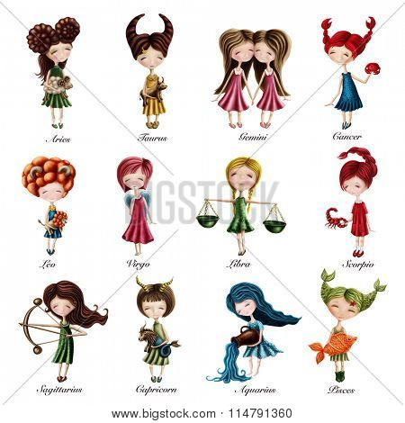 Collection with zodiac sign girls