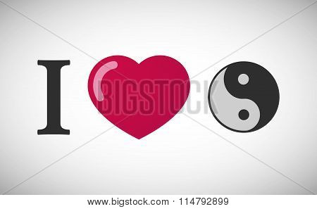 """Illustration of an """"I love"""" hieroglyph with a ying yang poster"""