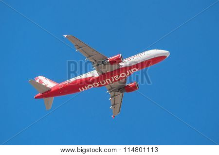 Air Berlin Airbus 320 is taking off from Tenerife South airport