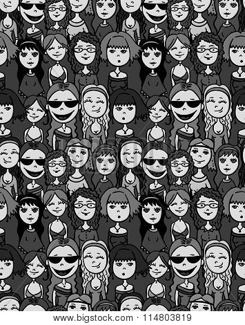 Girls and women crowd - cartoon style positive seamless pattern