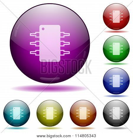 Integrated Circuit Glass Sphere Buttons