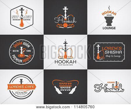 Hookah labels, badges and design elements collection. Vintage shisha logo. Lounge cafe emblem.  Arab