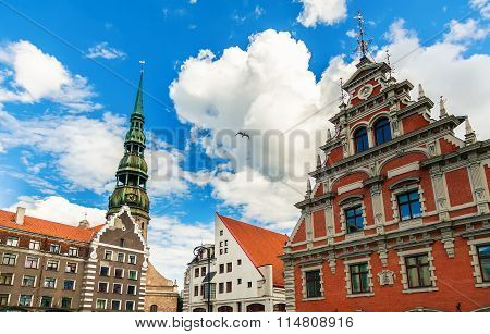 Main Buildings At The City Hall Square In Riga