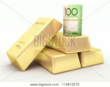 Australian dollar banknote roll and gold bars