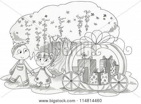 Children Pulling Gift Wagon