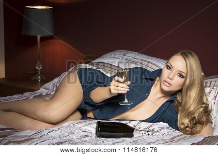 Erotic Woman With Champagne