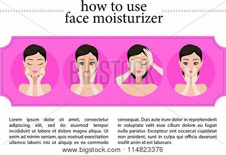 Vector flat instruction of using face moisturiser.