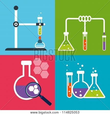 Chemistry Flat Icons Set