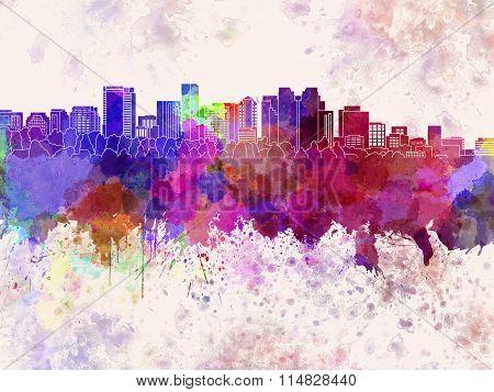 Bellevue Skyline In Watercolor Background