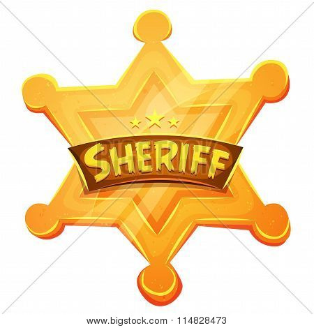 Sheriff Marshal Star Gold Medal Icon
