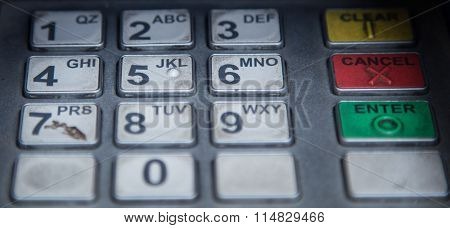 Close up of old ATM keypad with number and character