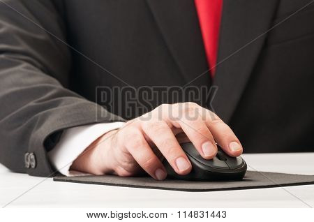 Closeup Of Hand And Mouse.