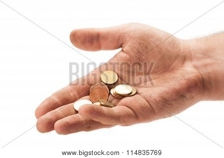 Homeless Man Hand With Some Change.