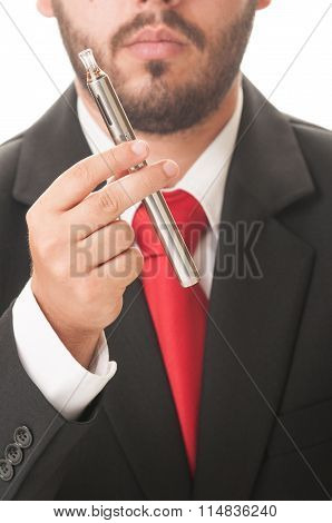 Business Man Holding An Electronic Cigarette.