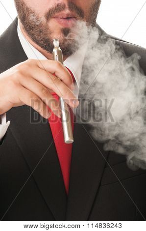 Business Man Smoking E-cig.