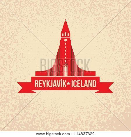 Hallgrimskirkja. The symbol of  Reykjavik, Iceland.