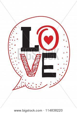 Happy Valentines Day card design. Typographic and hand drawn elements. White background.