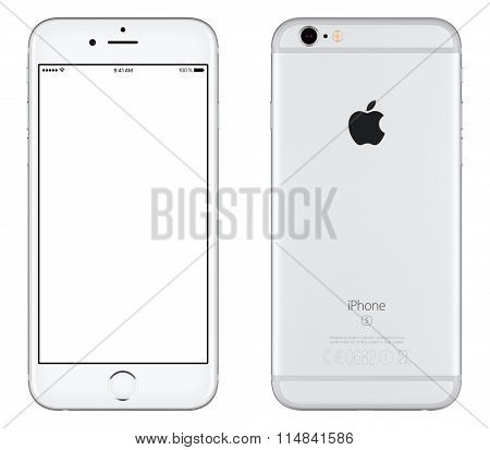 Silver Apple Iphone 6S Mockup Front View With White Screen And Back Side With Apple Inc Logo