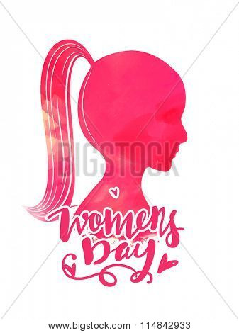 Flyer, Banner or Pamphlet with pink silhouette of young girl portrait for Happy International Women's Day celebration.