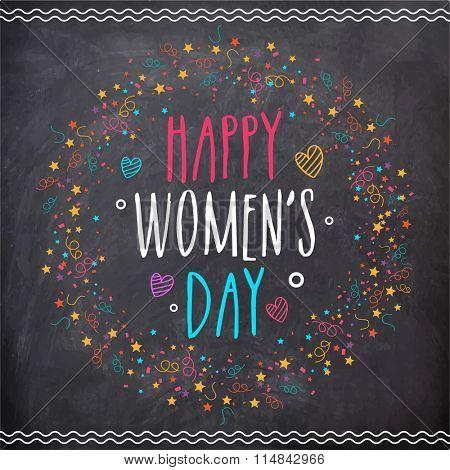 Beautiful greeting card design in chalkboard style for Happy International Women's Day celebration.