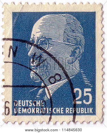 German Democratic Republic - Circa 1961: A Stamp Printed In Germany Shows The Leader Of East Germany