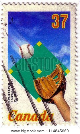 Canada - Circa 1988: The Postal Stamp Printed In Canada Shows Baseball, 150Th Annivesarry Of Basebal