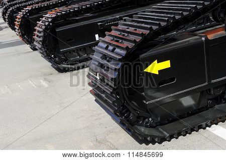 Row of bulldozer tracks