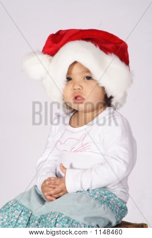 Toddler With A Santa Hat
