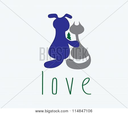 Dog Hugging Cat With Love