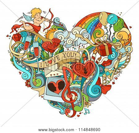 Colourful Love Poster Template With Hand-drawn Doodles Elements.