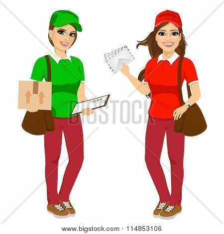 two attractive post women in uniform with brown leather bag delivering mail and delivery cardboard