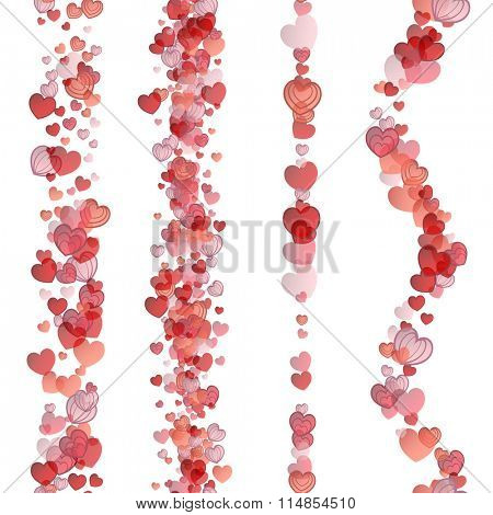Elements for valentines day and wedding card. Seamless hearts vertical strips