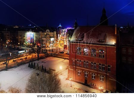 Nightly Air View Panorama Of Katowice In The Winter, Poland. Europe.