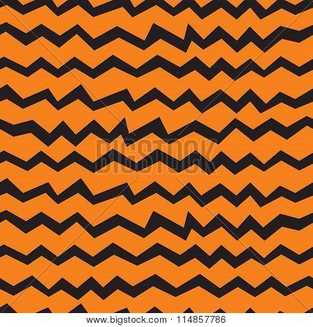 Vector Seamless Halloween Chevron Pattern. Black And Orange Zigzag Lines. Good For Halloween Cards