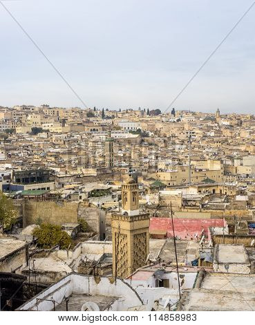 View Of The Rooftops Of The Fez Medina. Fez, Morocco.