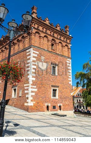 Gothic Style Town Hall With Renaissance Attic In The Old Town In Sandomierz, Poland