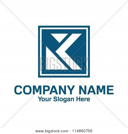 Letter K Logo Template. Square Shape With The Letter K Inside. Simple And Clean Letter K Logo Design