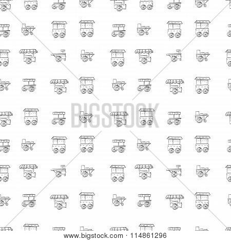 Food trolley vector sketch pattern