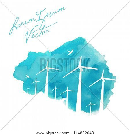 wind turbines on painted watercolor background