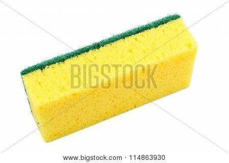 Dish Washing Sponge, Isolated On White Background