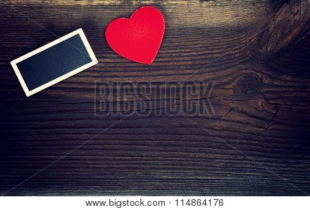 Small Blackboard And Red Heart
